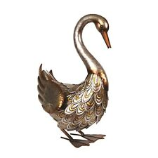 Lovely Large Decorative Metal Bronze Head Down Goose Garden Animal Bird Ornament