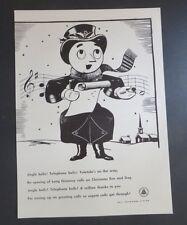 Original Print Ad 1946 BELL TELEPHONE Jingle Bells Christmas Man