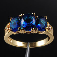 Size7/N Handmade Three-Stone Tanzanite 10KT Yellow Gold Filled Womens Ring Gift