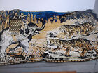 """VINTAGE TAPESTRY 2 TIGERS ELEPHANT CARRYING 2 MEN BLUE GOLD AND BLACK 76"""" X 48"""""""