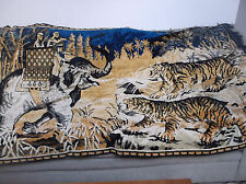 "VINTAGE TAPESTRY 2 TIGERS ELEPHANT CARRYING 2 MEN BLUE GOLD AND BLACK 76"" X 48"""