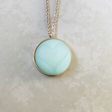 With Turquoise Cabochon With Heart New Polaris Steel Rose Gold Pendant Necklace