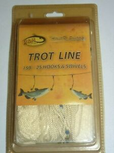 NOS H & H 150 Ft 25 Hook & Swivels Trot Line 300 Lbs Test Line Tl150-25 New