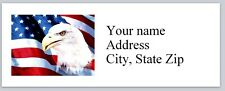 30 Personalized Return Address Labels US Flag Buy 3 get 1 free (us17)