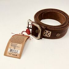 Mens Leather Belt True Religion Brown Size 42 Weathered Basic Sunset Embossed