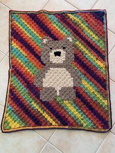 Handmade Crochet Dark Rainbow Bear Teddy Baby Blanket