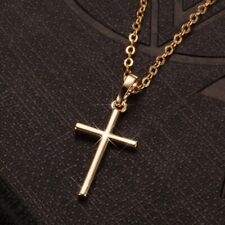 Pendant Necklace 45cm Chain Amulet Lovely 18ct Gold Plated Simple Cross