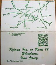 Whitehouse NJ 1950s Hotel Ad Business Card Ryland Inn Route 22