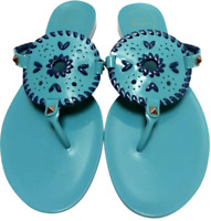 Jack Rogers Georgica Turquoise & Black Jelly Thong Sandals Women's Size 9