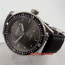 43mm DEBERT gray dial ceramic bezel Sapphire miyota 821A Automatic mens Watch 35
