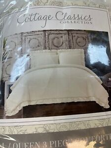 Classic Cottage Cotton Viole 3 piece Comforter Set Full/Queen Ivory White NIOP