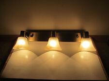 Antique Gold 12 Volt Vanity Bar Light Mini Bell Bisque Swirl Alabaster Glass