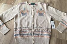 Nwt Ralph Lauren Intarsia Cardigan Floral Alphabet Teacher PS Hand Knit