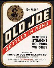 1940s 124mm Kentucky Louisville OLD JOE PEYTON STRAIGHT BOURBON WHISKEY label