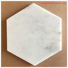 "Carrera White Marble Honed Hexagon Tiles, 6"""