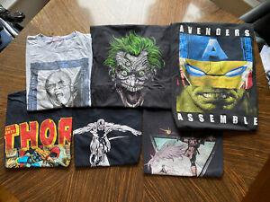 Vintage 6 Marvel T Shirt Bundle. Deadpool, Silver Surfer, Thor, Joker.