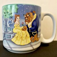 Walt Disney Beauty and the Beast Mug 1991 Vintage Belle Blue Pink Yellow Classic