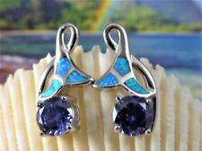 STERLING SILVER POST EARRINGS WITH OPAL AND ROUND TANZANITE