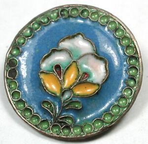 "Vintage Silver with Enamel Button Pretty Flower Design - 7/8"""