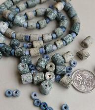 Ceramic matte barrel beads | Mottled dusty blue tones | 150+ beads per strand
