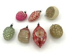 7 Very OLD Vintage Antique Glass Christmas Tree Ornaments Fragile German *1010