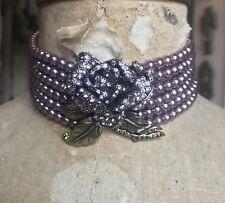 HEIDI DAUS Pink Pearl 6 Strand ROSE CHOKER Necklace - ROSE ELEGANCE