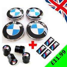 BMW ALLOY WHEEL CENTRE HUB CAPS 68mm + 4 x M SPORT STICKERS + M SPORT VALVE CAPS