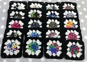 """Lot of 20 5"""" ASSORTED SHADED COLOR FLOWER Crochet GRANNY SQUARES Blocks AFGHAN"""