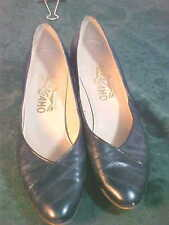 Vintage Salvatore Ferragamo Navy Blue Leather Heeled Shoes-Size 7 AA