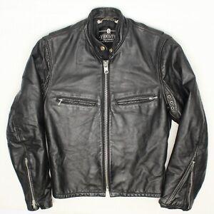 Fidelity Leathers Mens Biker Jacket 34 Black Leather Zip Moto Cafe Made in USA