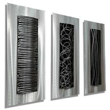Jon Allen Metal Wall Art Etched Silver & Black Modern Accent Sculpture Decor