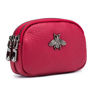 Genuine Leather Double Zipper Coin Purse Wallet Credit Card Holder For Women