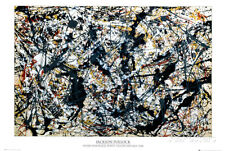 Silver On Black Poster Print by Jackson Pollock, 36x24