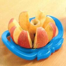 apple & pear slicer. large handles. durable plastic. blue. apple shaped design.