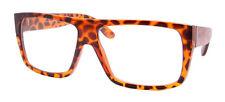 Tortoise Brown Flat Top RETRO Geek Clear Lens Nerd Glasses wayfarer Thick Frame