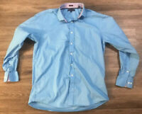 Men's Tommy Hilfiger 16-1/2 34-35 Button Down Shirt Sky Blue Long Sleeve