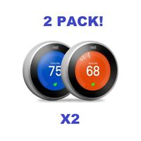 2-Pack Google Nest Learning Thermostat 3rd Gen Stainless Steel Bundle- Third Gen