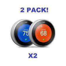 2-Pack: Google Nest Learning Thermostat 3rd Gen Stainless Steel Bundle Third Gen