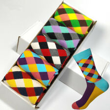 5 Pairs Standard Cotton Happy Socks Lots Colorful Diamond Casual Socks For MENS