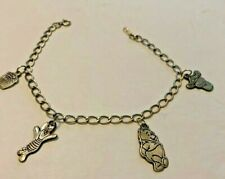 Vintage 1950's  Walt Disney Sterling Silver Charm Bracelet Van Dell Marked 925