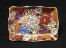 VINTAGE JAPANESE SATSUMA MILLE FLEUR CHRYSANTHEMUM FLOWERS PORCELAIN DISH SIGNED