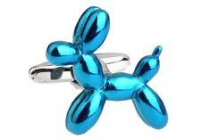 Balloon Dog Blue Puppy Cufflinks Groom Wedding Fancy Gift Box Free Ship USA