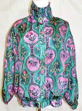 Kim Rogers Sport Petite Jacket Lightweight Silk Floral Zipper Front size PM