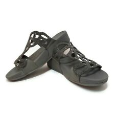 FITFLOP Womens Sz 9 Sandals Pewter Gray Bumble Crystal Slide Leather Cut Out