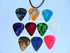 Patterned  Guitar Pick  Leather Necklace and GUNS N ROSES  Charm   Ten to Choose