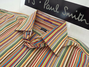 """PAUL SMITH Mens Shirt 🌍 Size 15.5"""" (CHEST 44"""") 🌎 RRP £95+📮 ICONIC STRIPES"""