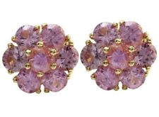 3.45 Carat Natural Pink Sapphire in 14K Solid Yellow Gold Stud Earrings