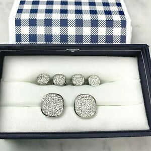 OX & BULL Trading Co. Men's White Pave Crystal Studs and Cufflinks Set NIB