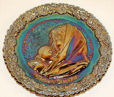 1971 FENTON AMYTHEST CARNIVAL GLASS MOTHERS DAY PLATE MADONNA W/ SLEEPING CHILD