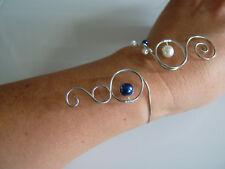 Bracelet Bleu Royal/Ivoire robe de Mariée/Mariage/Soirée perles verre pas cher